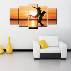 5 Panel Sunset Canvas Poster Printed