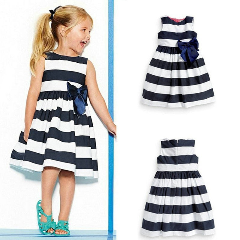 Blue White Stripes Cute Girl Dress
