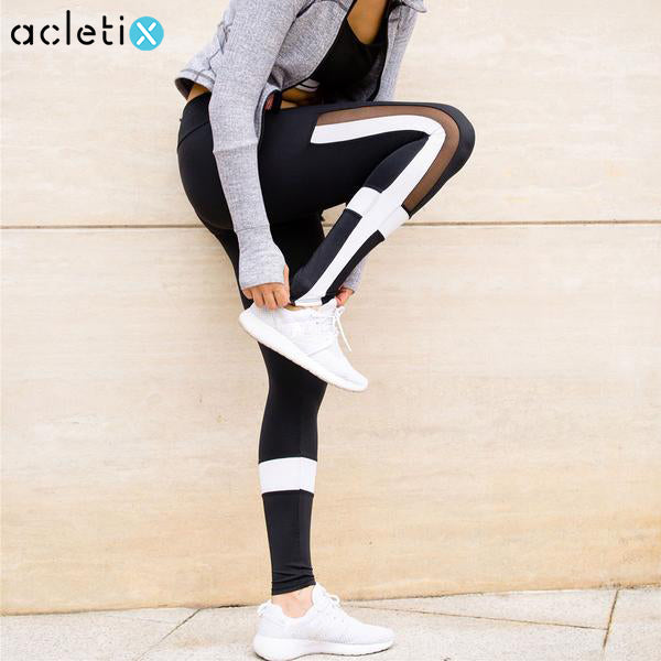 Black And White Mesh Elastic Patchwork Leggings