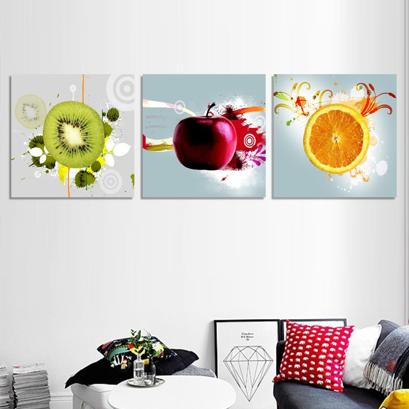 3 Panel Kitchen Fruit Print On Canvas