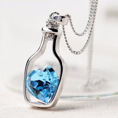 Blue Heart Crystal Love Drift Bottles Pendant Necklace