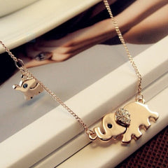 Cute Elephant Charming Crystal Chain Necklace