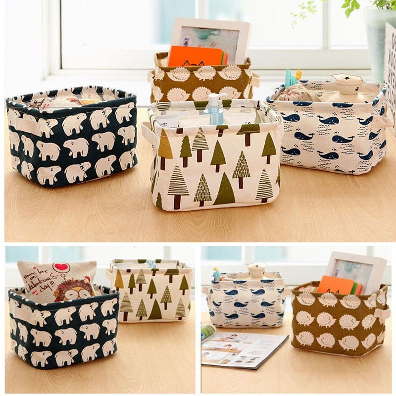 Cute Linen Desk Storage Organizer Box