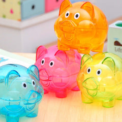 Small Plastic Transparent Pig Shape Money Saving Box