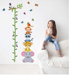 Animals Stack Height Measure Wall Sticker