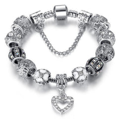 Silver 925 Heart Crystal Beads Charms Bracelet