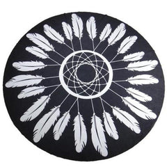 Feather Dreamcatcher Black & White Bohemian Round Beach Blanket