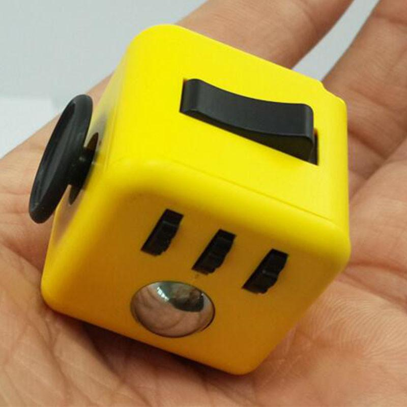 Yellow Fidget Cube Stress Relief Toy