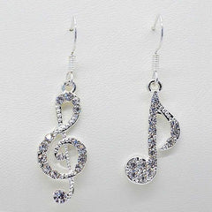 Music Drop Crystal Dangle Earrings