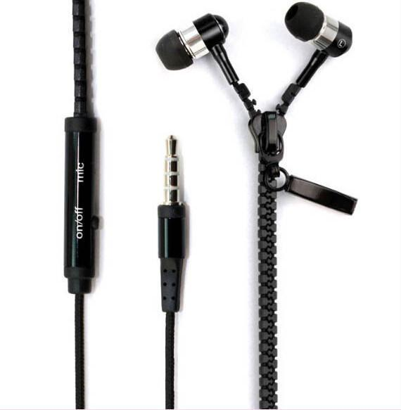 In-Ear Wired Metal Zipper Earphones With Microphone
