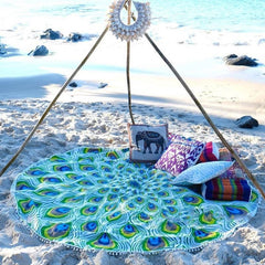 Peacock Feather Mandalas Beach Blanket Yoga Tapestry