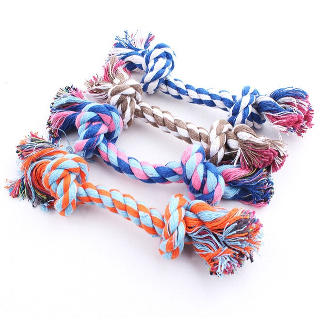 FREE Puppy/Dog Pet Toy Cotton Braided Bone Rope Double Knot