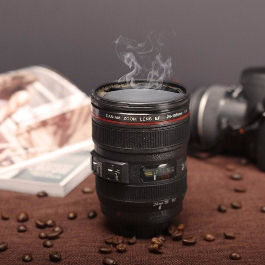 Camera Lens Coffee Mug Cup with Lid