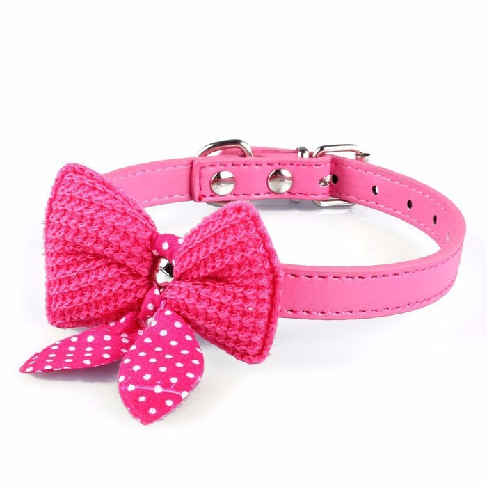 FREE Knit Bowknot Adjustable Leather Dog/Puppy/Cat Pet Collars Necklace