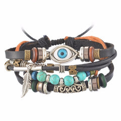 Ethnic Punk Wrap Multi-layer Leather Beads Charm Bracelet