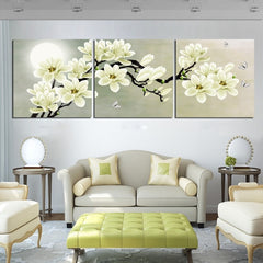 3 Panel Orchid Flower Painting Wall Canvas Prints