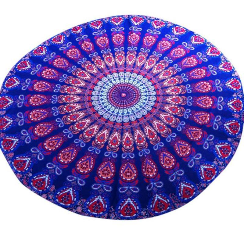 Blue Bohemian Mandala Beach Round Tapestry Hippie Throw