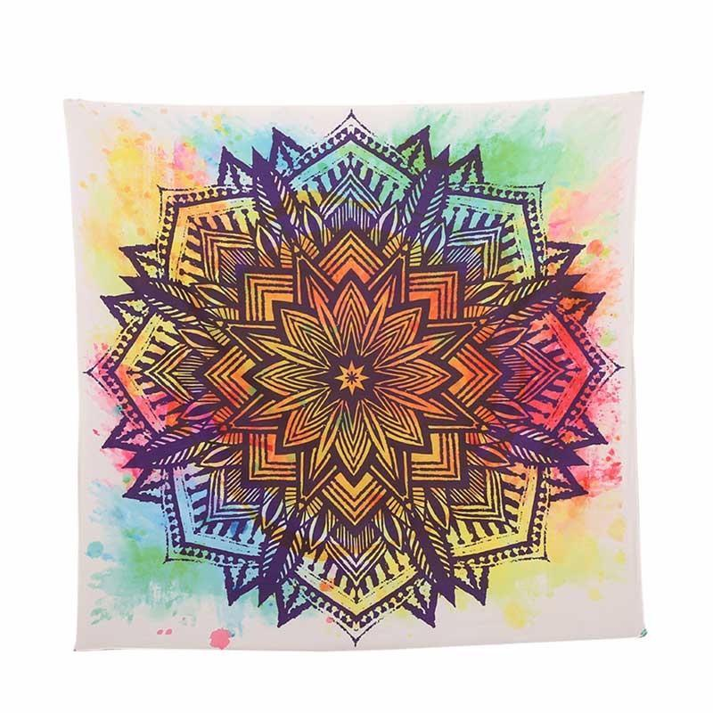 Boho Color Splash Mandala Round Blanket