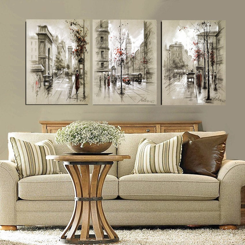 3 Panel Abstract City Street Landscape Canvas Painting