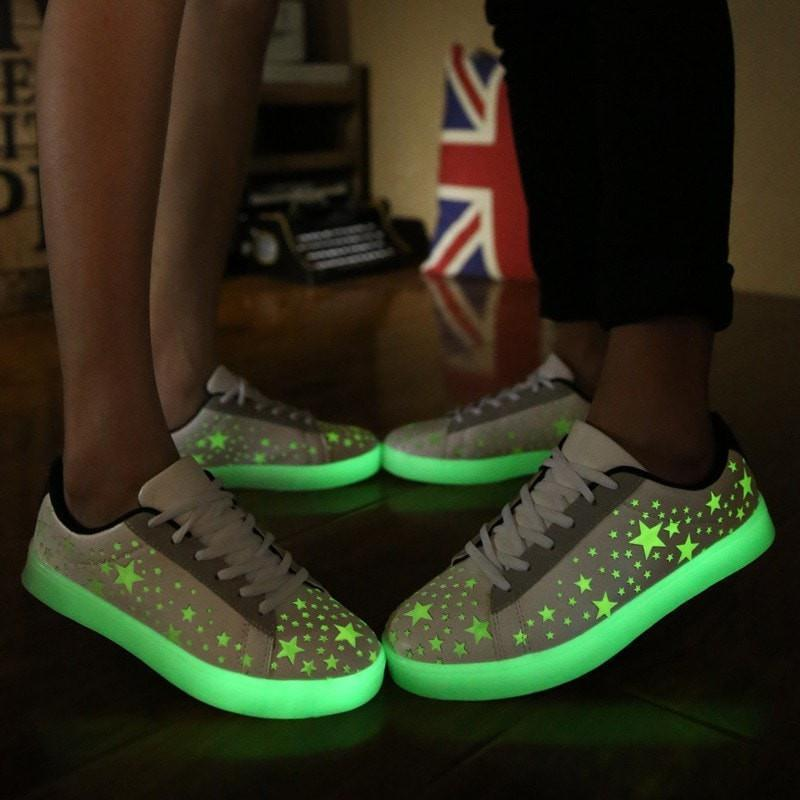 Luminous Led Women Casual Shoes With Fluorescence Star