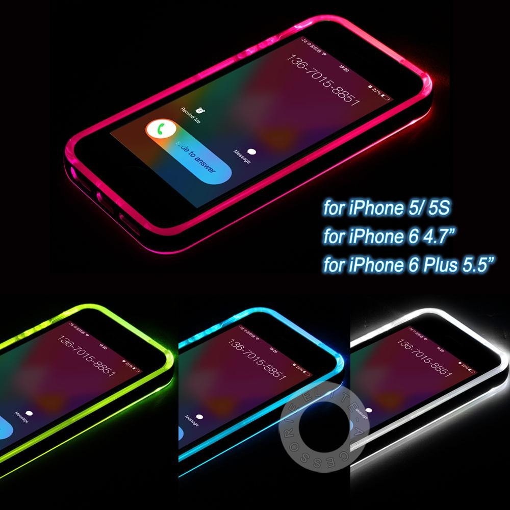 iPhone Case  5 5S 6 6S  6Plus  6SPlus LED Flash Light Up Case - Remind  Incoming Call bc481645e