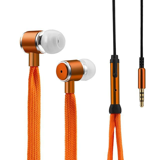 Shoelace Stereo Earphone With Microphone