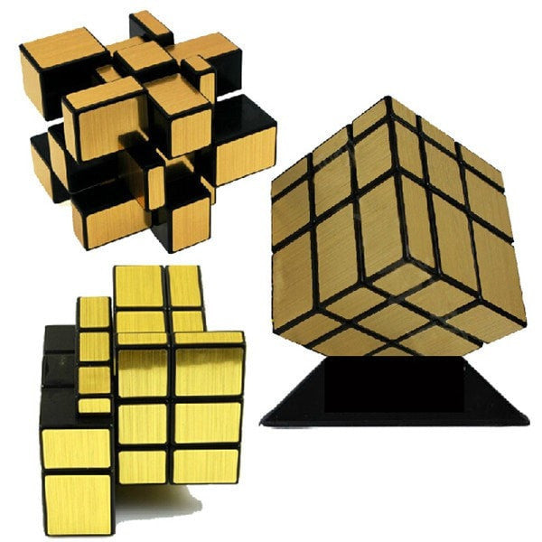Brushed Silver & Gold Mirror Magic Cube