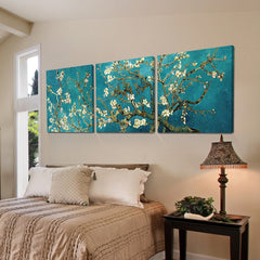 3 Panel Apricot Flower Print On Canvas