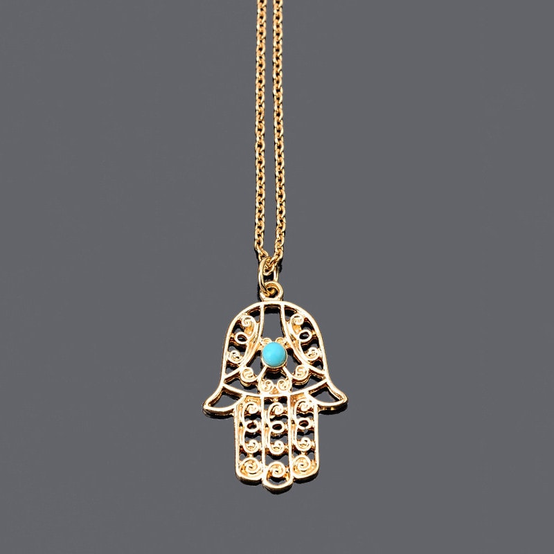 FREE  Long Luck Hamsa Hand Pendants Necklace