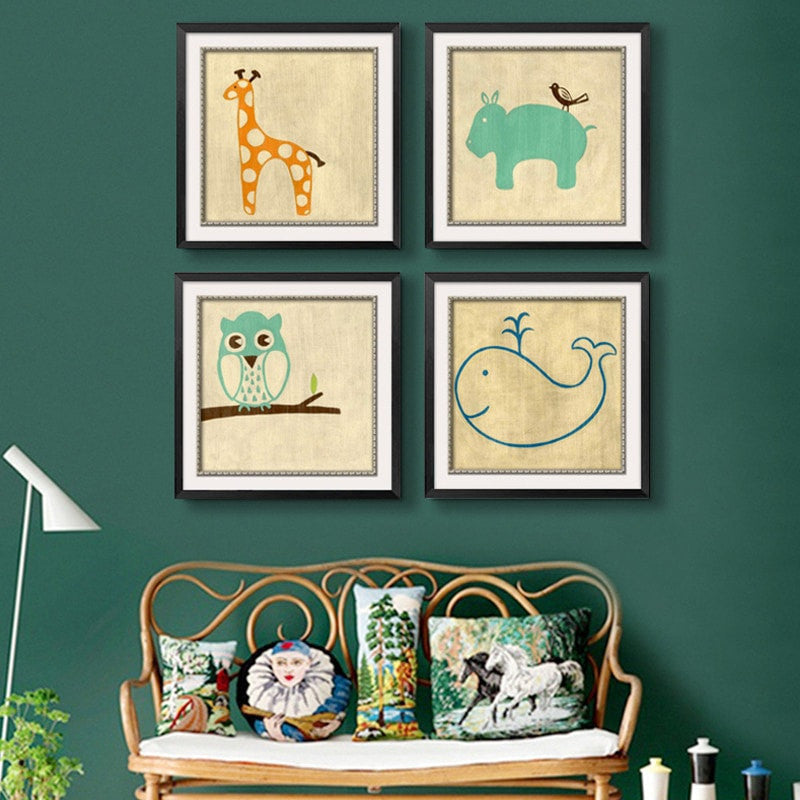 Vintage Cartoon Animals Oil Paintings Posters No Frame