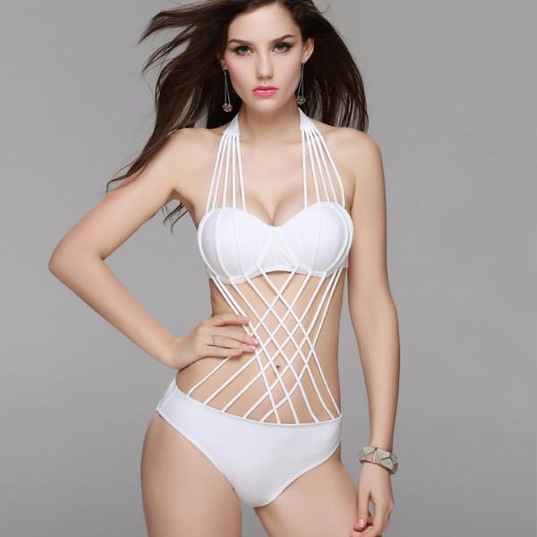 Women 2016 new sexy multi rope front crossover bikini bandage halter padded push up swimsuit black 9bfa696c 01ad 4059 a17d 6d3238df6e7d grande