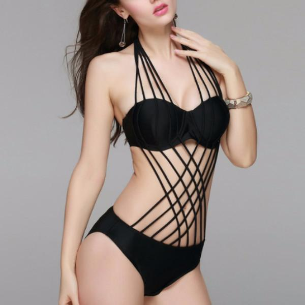 Women 2016 new sexy multi rope front crossover bikini bandage halter padded push up swimsuit black grande