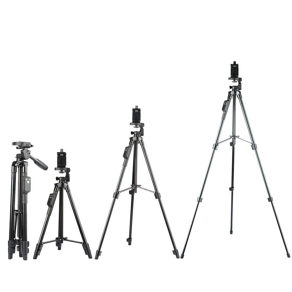 Aluminum Tripod with 3-Way Head & Bluetooth Remote + clip for Camera Phone