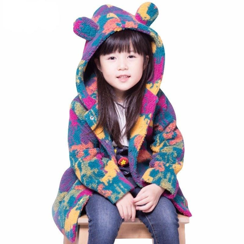 Cute Girl Camouflage Eared Coat