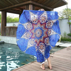 Cobalt Blue Boho Gypsy Round Beach Cover up Pareo