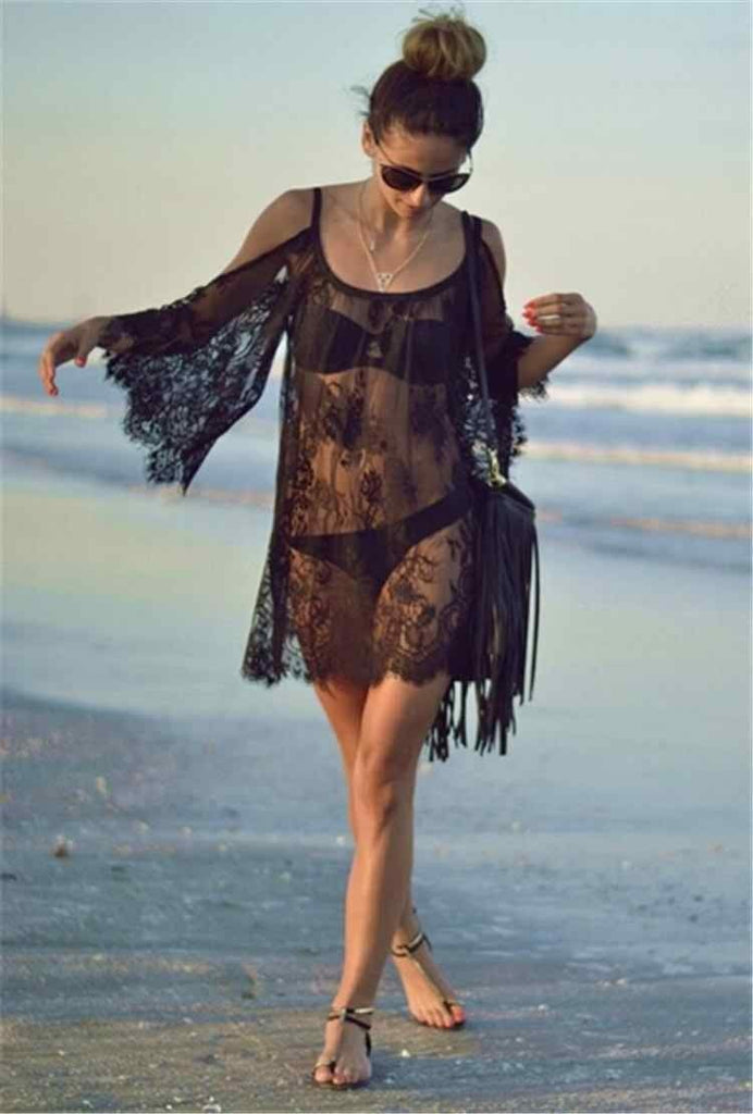 Sexy Beach Cover Mini Summer Lace Dress