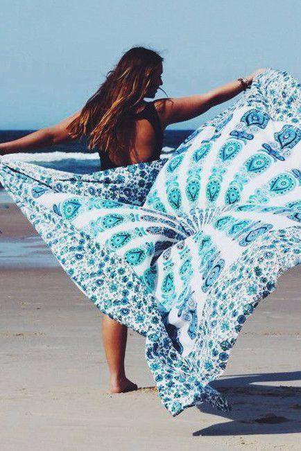 Rectangle Yoga Bohemian Colorful Mandala Tapestry Beach Blanket