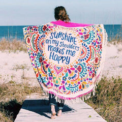 Happy Quote Round Hippie Tapestry Beach Throw