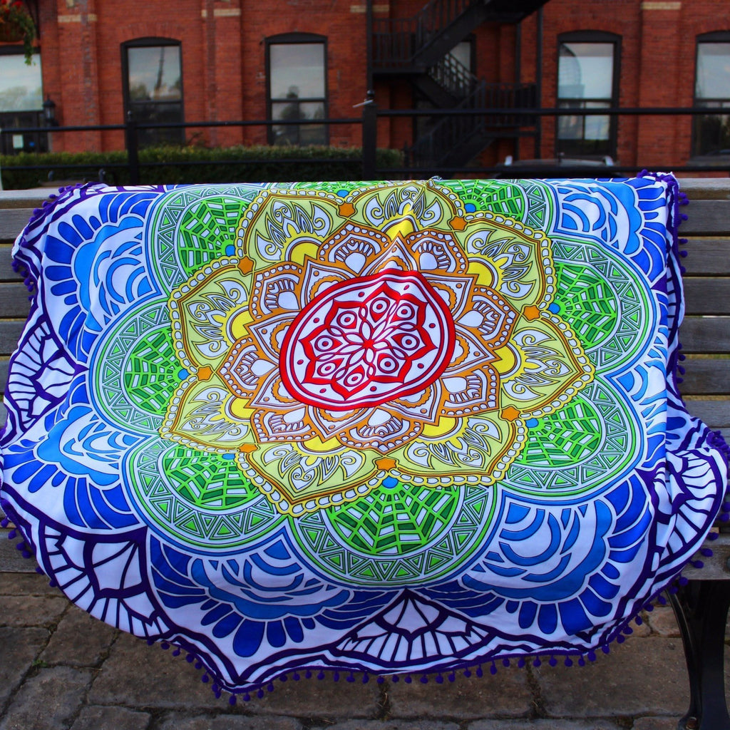 Indian Mandala Lotus Yoga Mat With Tassels