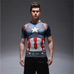 Captain America / Batman / Spiderman Short-sleeved Compression T-Shirt