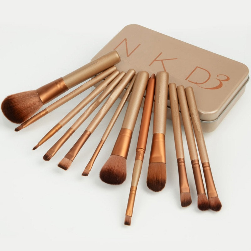 Makeup Cosmetic Brush Set + Metalic Case
