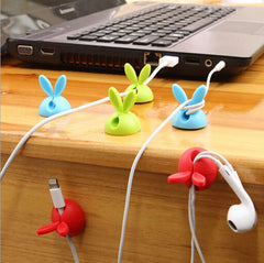 Rabbit Cable Drop Clip Desk Wire Organizer 4 Pieces