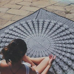 Gigantic White Mandala Tapestry Wall Hanging Beach Blanket