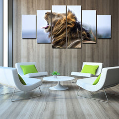 6 Panels Lion Printed Canvas UNFRAMED