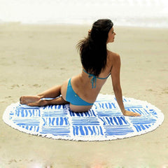 Blue Stripes Pattern Round Tapestry Beach Blanket