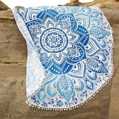 Beach Blanket Blue Mandala Print