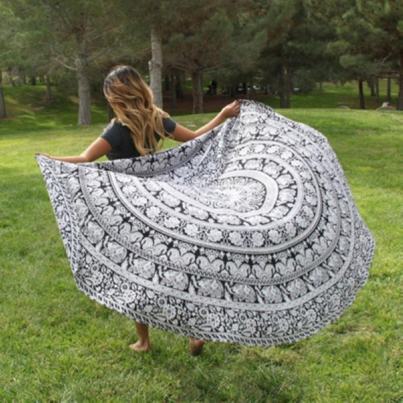 Elephant Mandalas Beach Blanket Yoga Tapestry