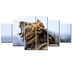 6 Panels Lion Printed Canvas FRAMED