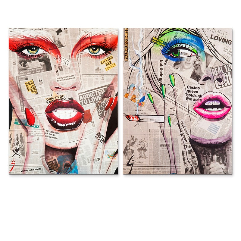 Modern Girl Faces Wall Art Picture Prints