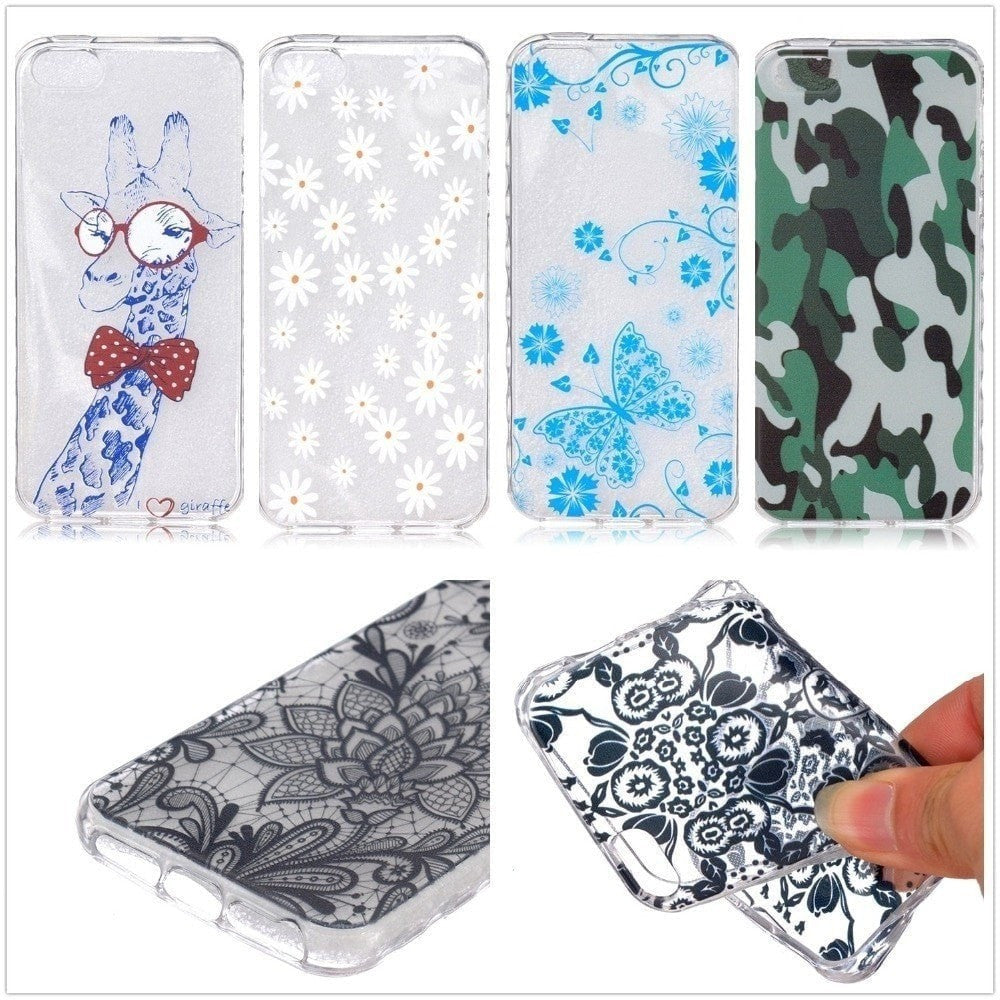 FREE * iPhone Case* SE Case Silicone Graphic Transparent Ultra-Thin Back Cover